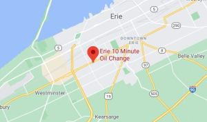 map to Erie 10 minute oil change